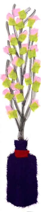 桃の節句に、桃の花の貼り絵