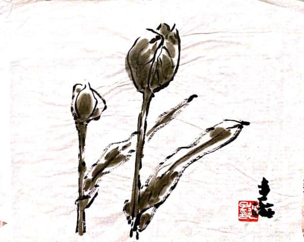 チューリップ 水墨画