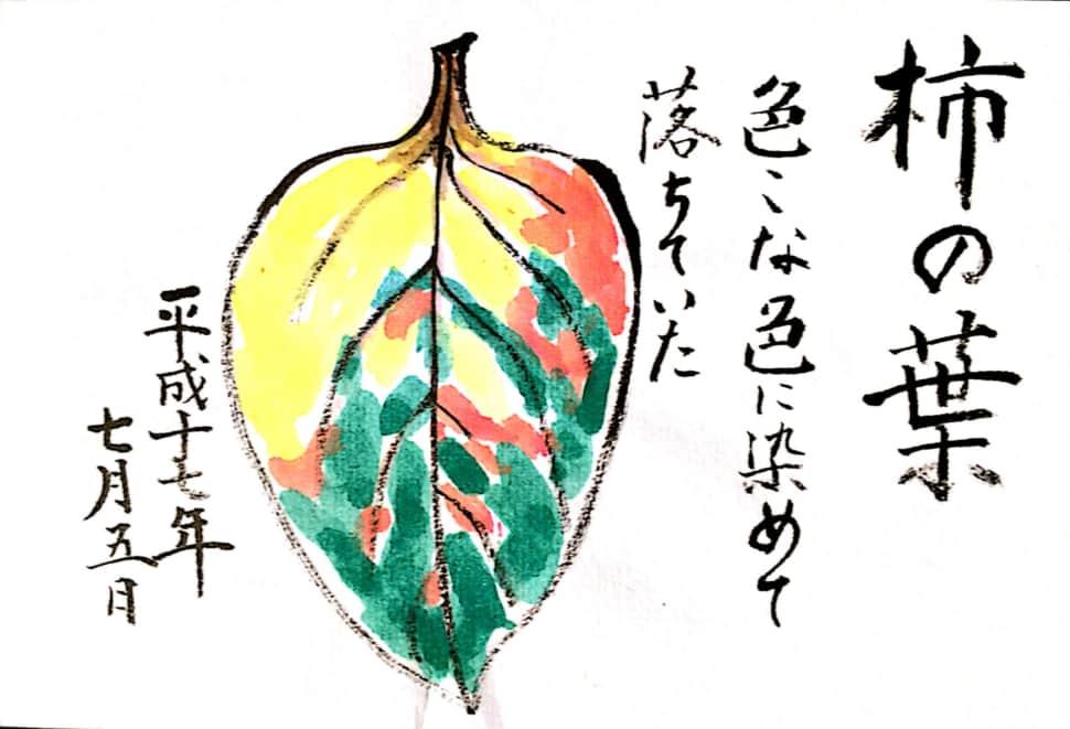 柿の葉 色々な色に染めて落ちていた