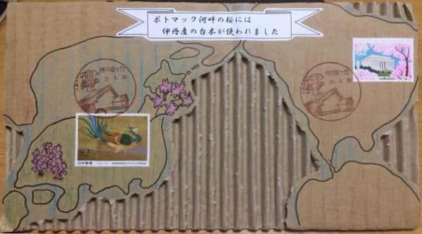 桜と孔雀のダンボール絵手紙