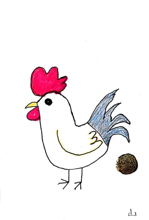金の卵を産むニワトリさんの年賀状 行列が始まります^^