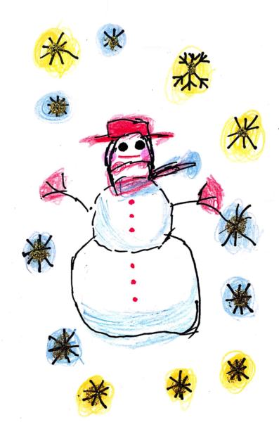 雪だるまのクリスマスカード 4枚目