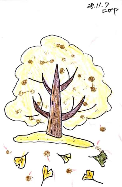 落ち葉舞う銀杏の木 キラキラのぎんなん