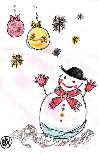 雪だるまのクリスマスカード 3枚目