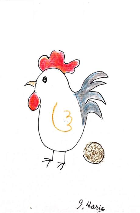 金の卵を産むニワトリさんの年賀状 四羽目です^^
