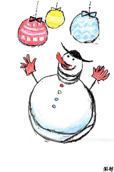雪だるまのクリスマスカード 6枚目