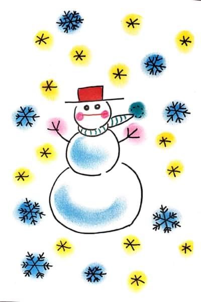 雪だるまのクリスマスカード お手本その2