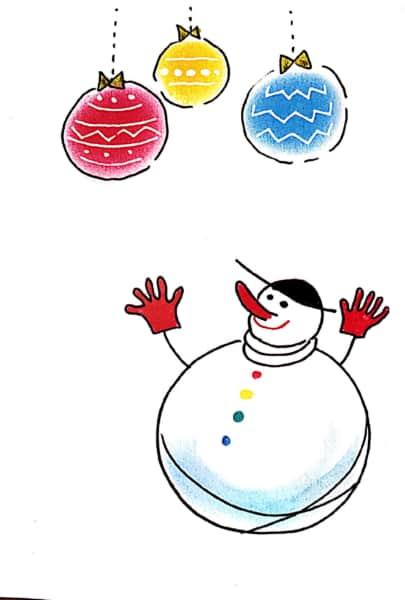 雪だるまのクリスマスカード お手本その1