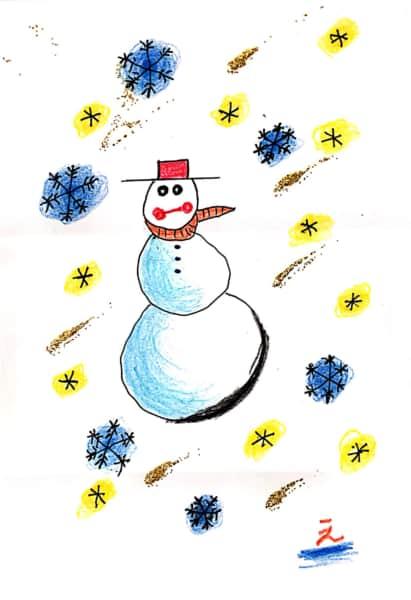 雪だるまのクリスマスカード 9枚目