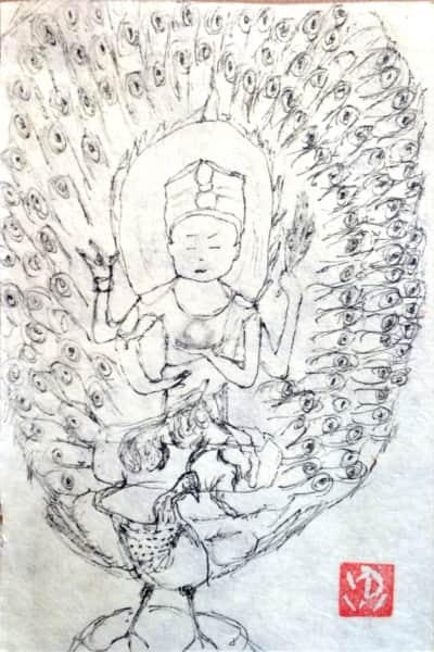 クジャクの象徴、孔雀明王