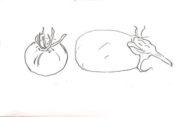 茄子とトマトのデッサン