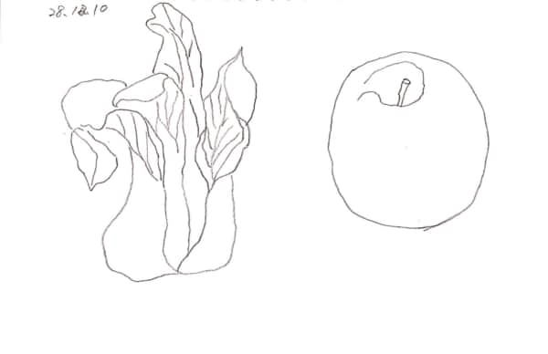 リンゴとチンゲンサイのデッサン