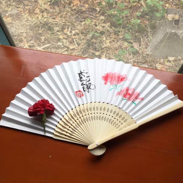 母の日のカーネーション扇子 〜感謝〜