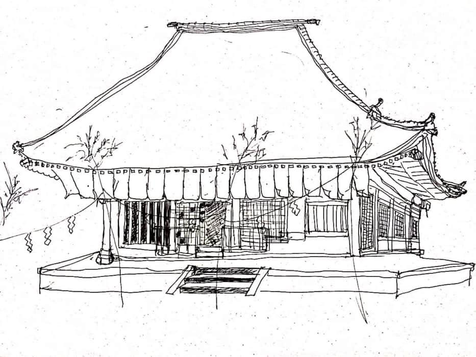 お寺のスケッチ