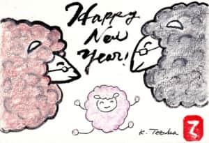 Happy New Year! 羊の親子の年賀状