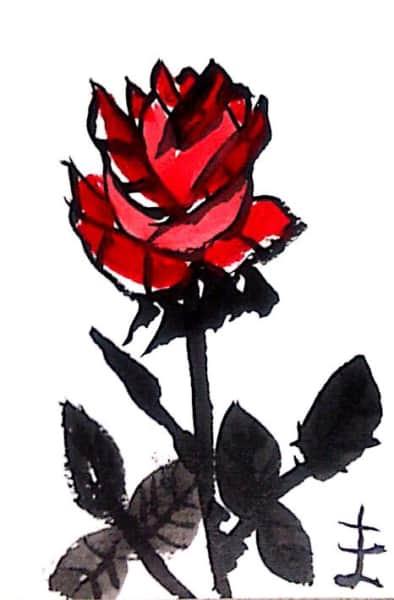 墨彩画「赤いばら」