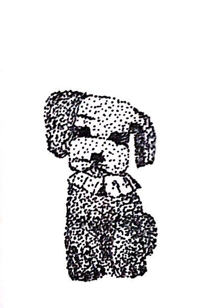 イラスト「点描・プードルのマリーちゃん」