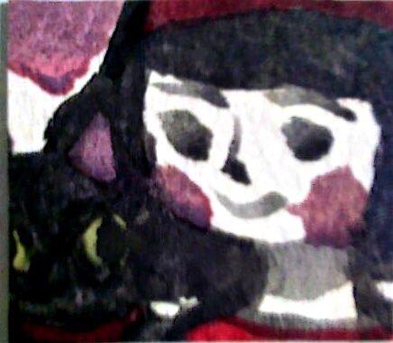 イラスト「少女と猫」