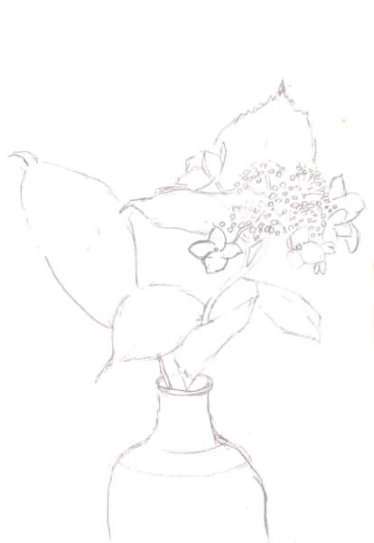 花瓶の紫陽花、一輪