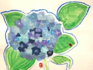 紫陽花の貼り絵絵手紙