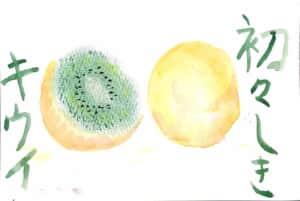 パステルのキウイフルーツの絵手紙
