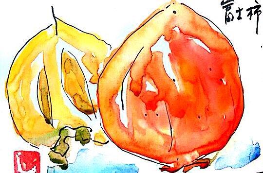 小さな八百屋さんで見つけた大きな富士柿