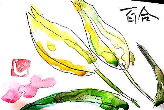 花束のなかの百合