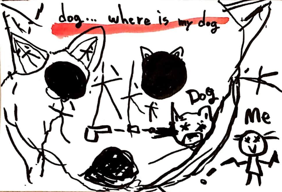 サイコパス風 犬の絵手紙