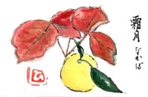 柚子と紅葉の絵手紙