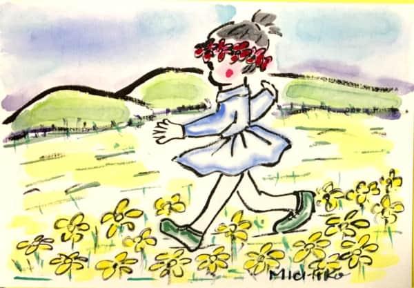 菜の花咲く、春の里山の風景