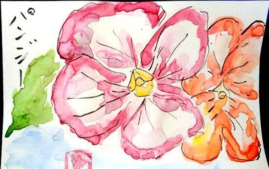 ピンク色のパンジーの絵手紙