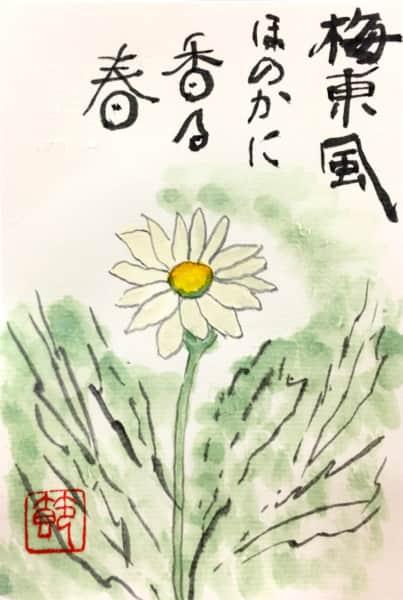 梅東風ほのかに香る春 〜白いマーガレットの花〜