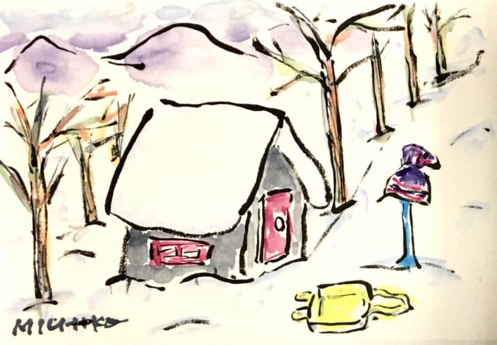 雪景色の中の家