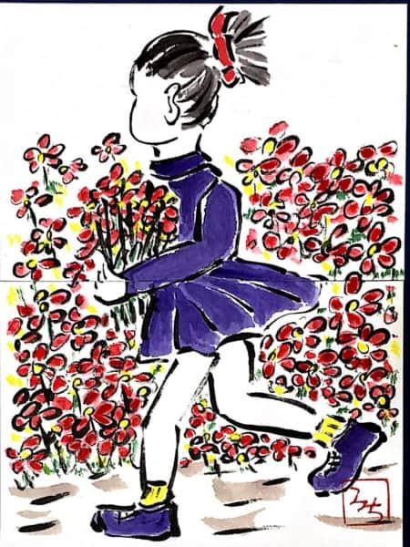 花束を抱えて駆ける少女