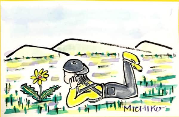 野原に咲くタンポポと女の子の風景