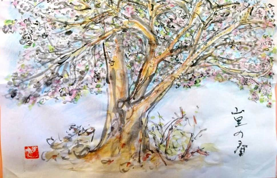 山里の春、夕暮れの桜