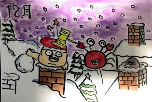 雪降るクリスマス、十二月のカレンダー絵手紙