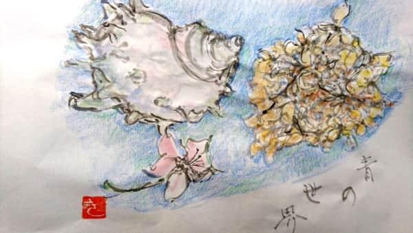 海に生きるサザエと、空に咲く林檎と紫陽花の花 どちらも青の世界