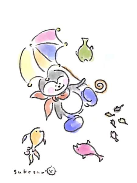 傘をさしたペンギンと魚