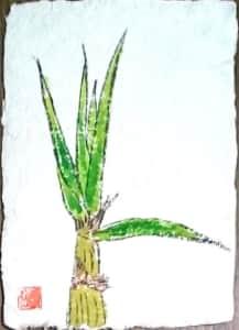 椰子の木の牛乳パック絵手紙