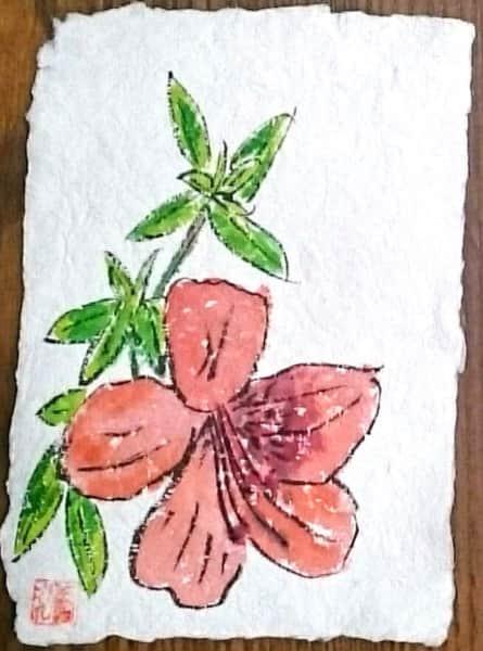 ハイビスカスの花の牛乳パック絵手紙