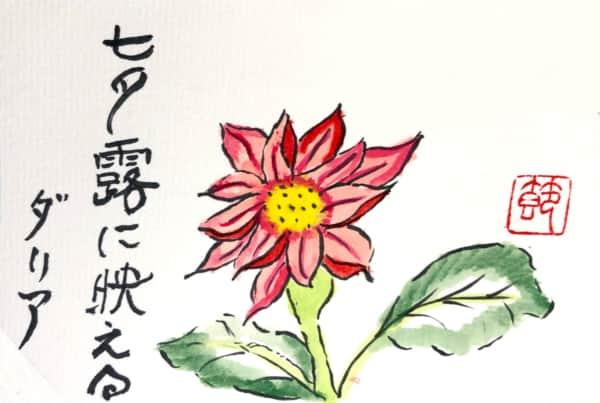 七夕露に映えるダリアの花