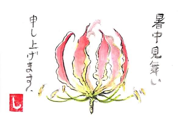 暑中見舞い申し上げます グロリオサの花