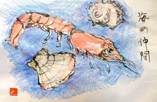 エビ、ホタテ、サザエ 海の幸のシーフード絵手紙