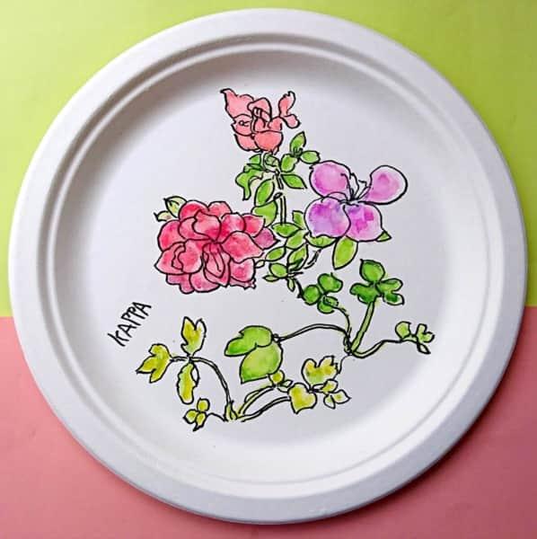 バラの花の紙皿絵手紙