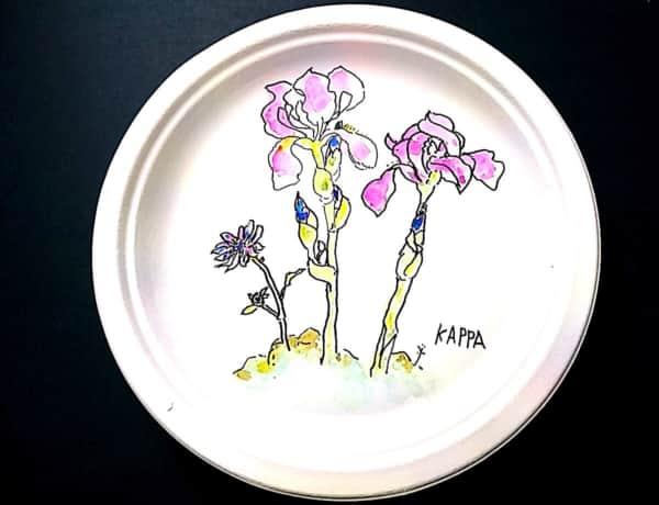 アイリスの花の紙皿絵手紙