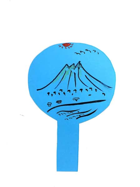 富士山の団扇絵手紙