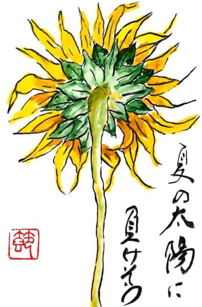 夏の太陽に負けそうな向日葵の花