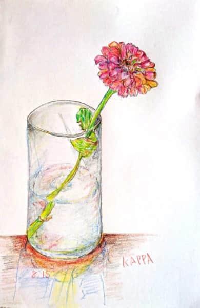 コップに挿した百日草の花