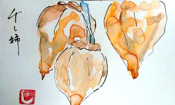 干し柿の絵手紙